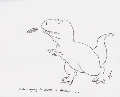 http://trextrying.tumblr.com/post/17372136421/t-rex-trying-to-catch-a-frisbee-trextrying