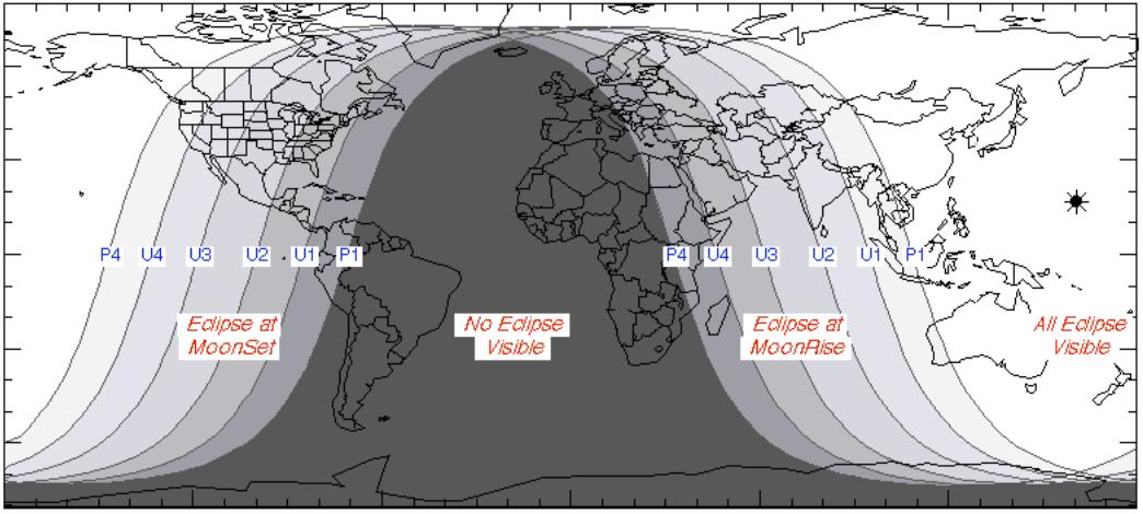 Ngày và đêm vào lúc xảy ra nguyệt thực ngày 31/8/2018. Việt Nam sẽ quan sát được gần toàn bộ nguyệt thực toàn phần. Đồ họa : NASA.