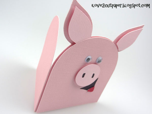 i love 2 cut paper Hog and Kisses shaped card – Pig Valentine Cards