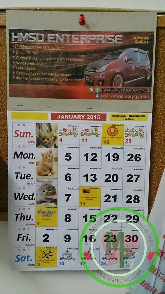 Download dan Print Kalendar Kuda 2015
