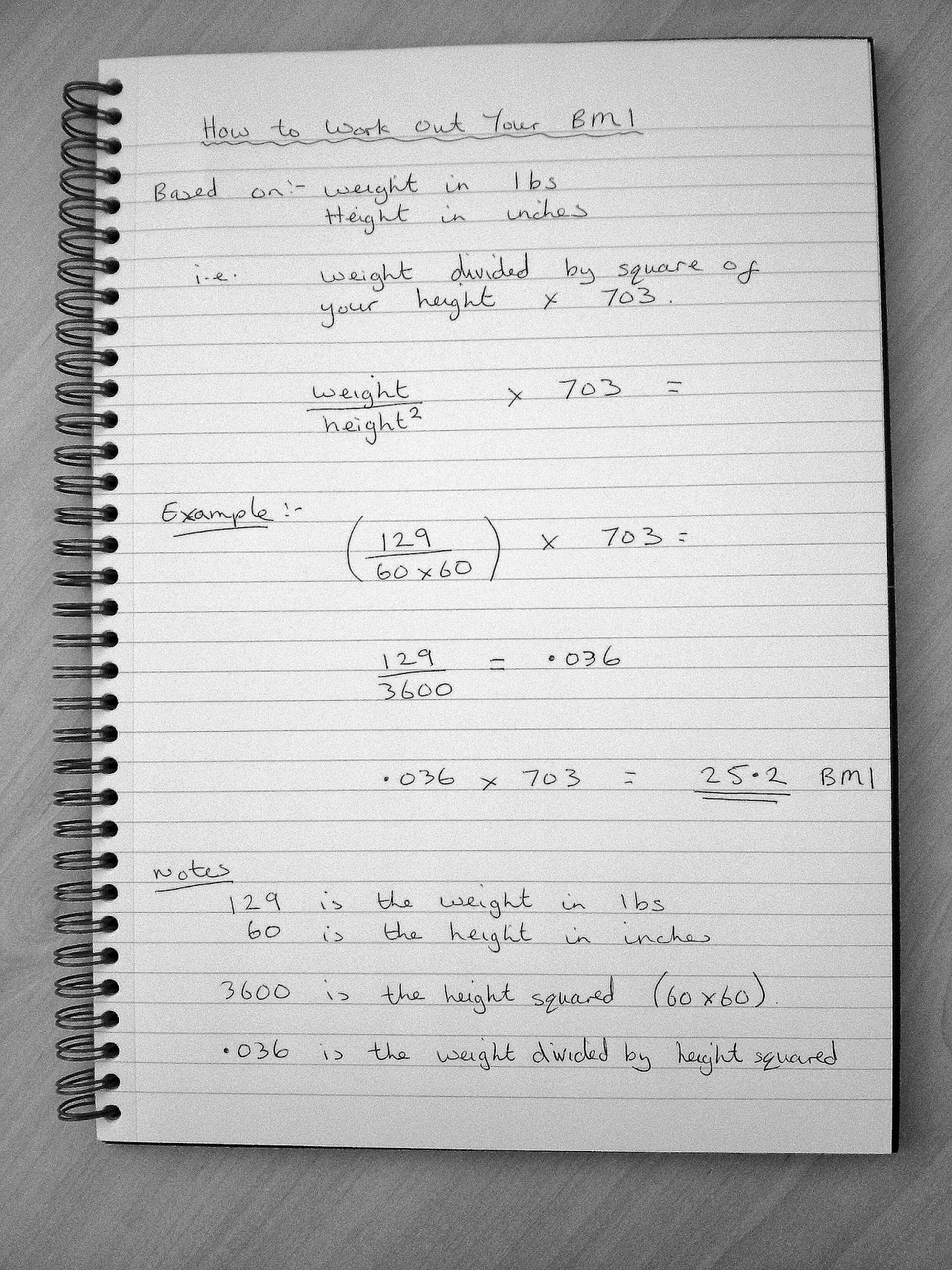 Example Of Formula For How To Work Out Your Bmi Body Mass Index Weight  Divided