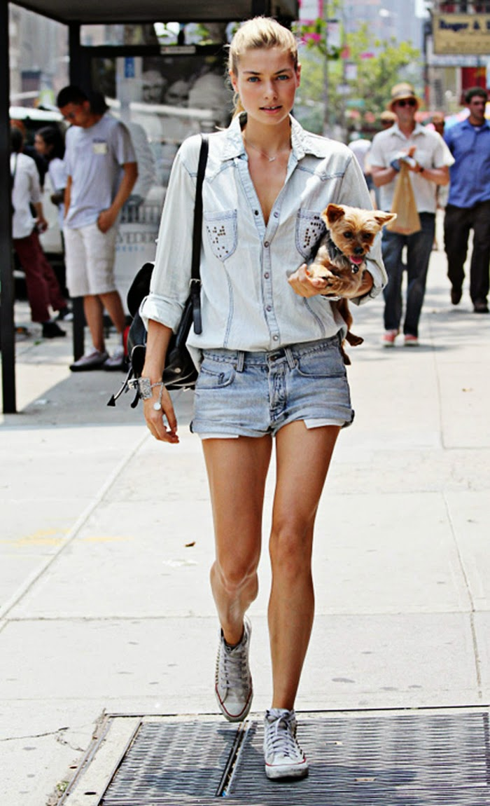 Jessica Hart Street Style Snapshot - Best Way to Rock Casual Double Denim