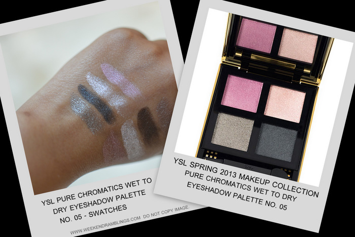 YSL spring 2013 makeup collection indian beauty blog darker skin swatches pure chromatics wet dry eyeshadow palette 05