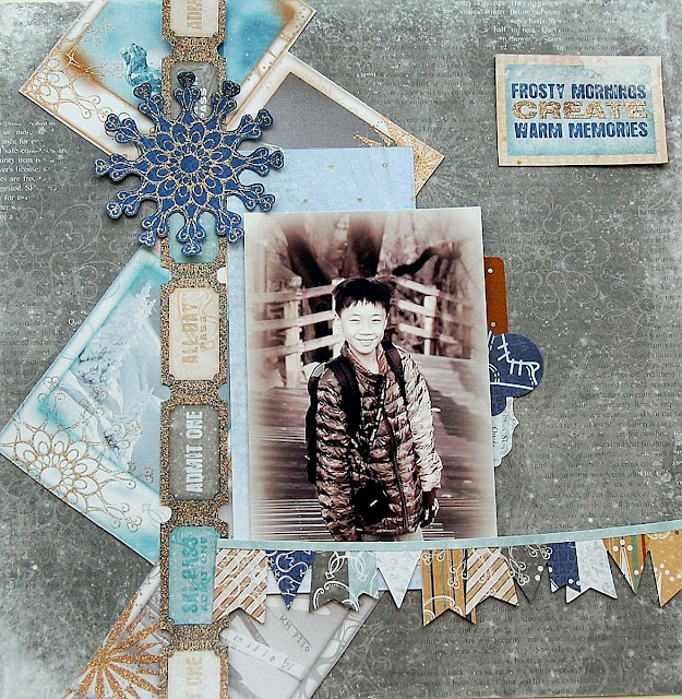 Frosty Mornings Layout by Irene Tan using BoBunny Whiteout Collection