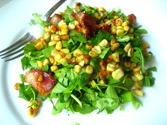 Stacey Snacks: Chopped Arugula Salad w/ Roasted Corn & Bacon