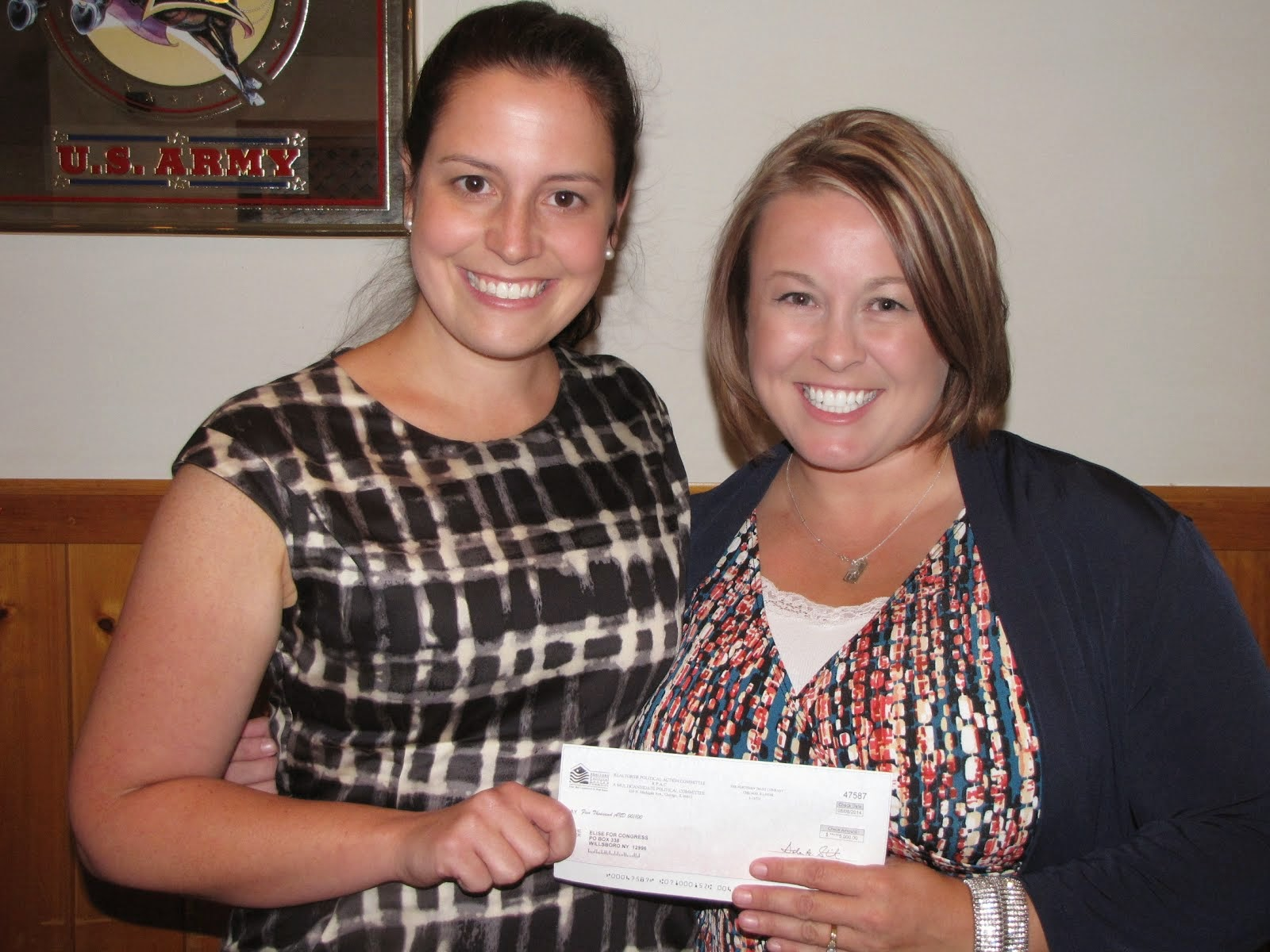Check for $5000 from Realtors Presented to Elise Stefanik