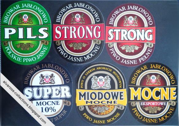 Beer labels collection: Browar Jabłonowo: Strong, Mocne Eksportowe, Pils, Super Mocne, Miodowe Mocne