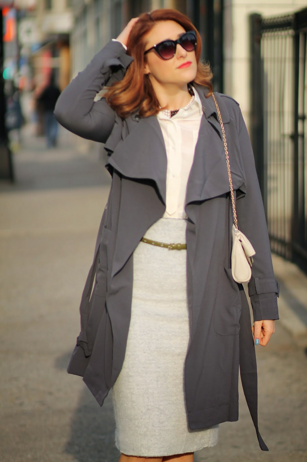 silk, trench, coat, gray