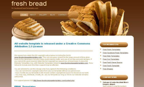 Free fresh bread brown free css website template free web bakery fresh bread brown free css template maxwellsz