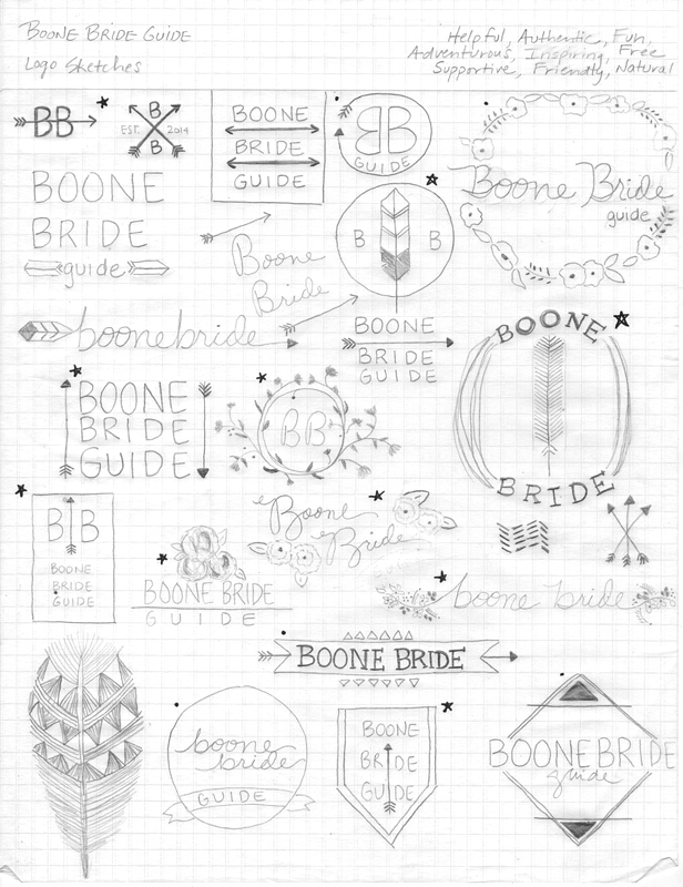 Boone Bride Guide | Wedding Planning Resource | Logo Concept Sketches by Wayfaring Wanderer