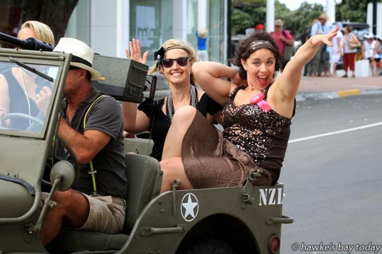 L-R: Heather Kerr, Mount Maunganui, Kiri Gillespie, senior digital reporter, Bay of Plenty Times, Tauranga, in Napier for a hen's party weekend, heading off for a drive in a 1942 Willys Jeep owned and driven by Darren Diack, Napier. Kiri's getting married on 14/03/15. photograph