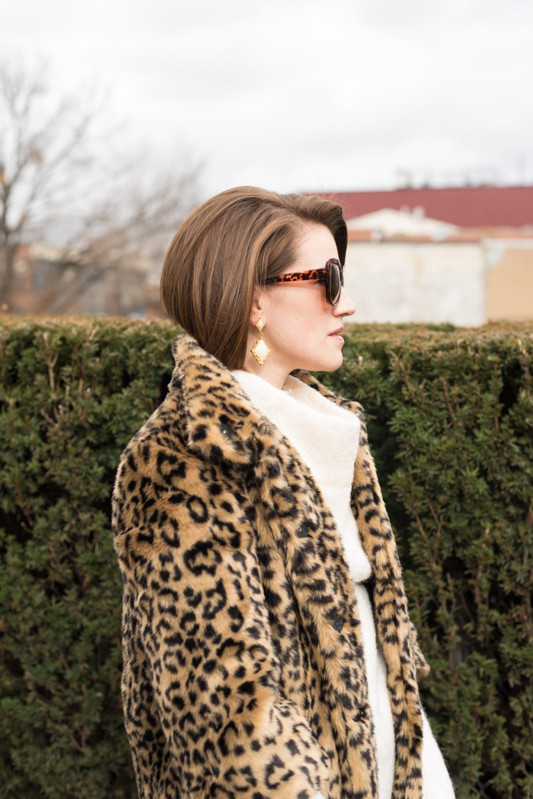 leopard print coat - faux fur coat - leopard faux fur coat - bob haircut