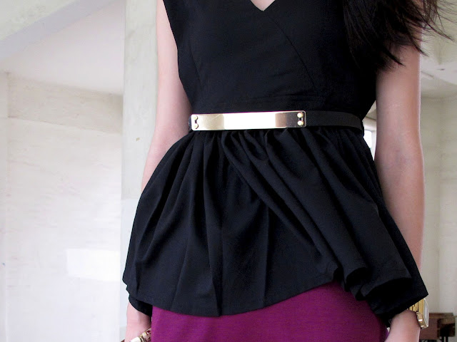Black+Peplum+Dress+With+Sleeves