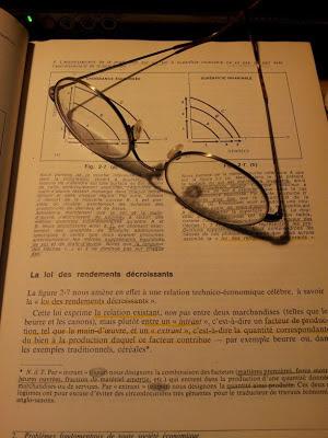 Livre de classe, économie, loi des rendements décroissants, lunettes