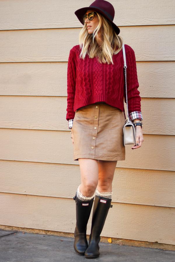 faux suede skirt rain boots