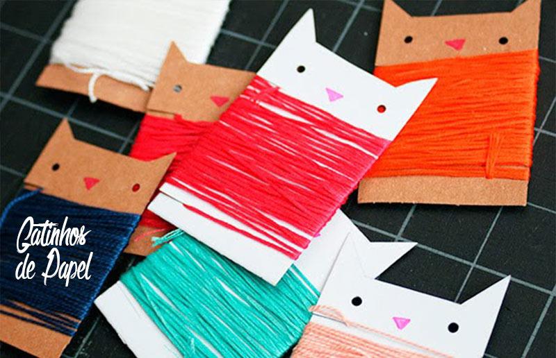 4 ideias 'faça-você-mesma' para organizar a linha de meada: gatinhos de papel