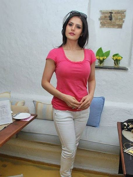 Actress Zarine Khan New Hot Stills in Pink T-shirt Pics