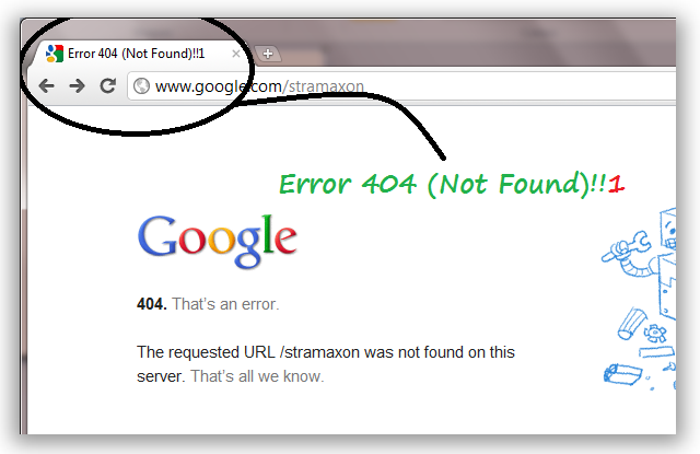Something's wrong with Google's new 404 Error Page | StramaXon