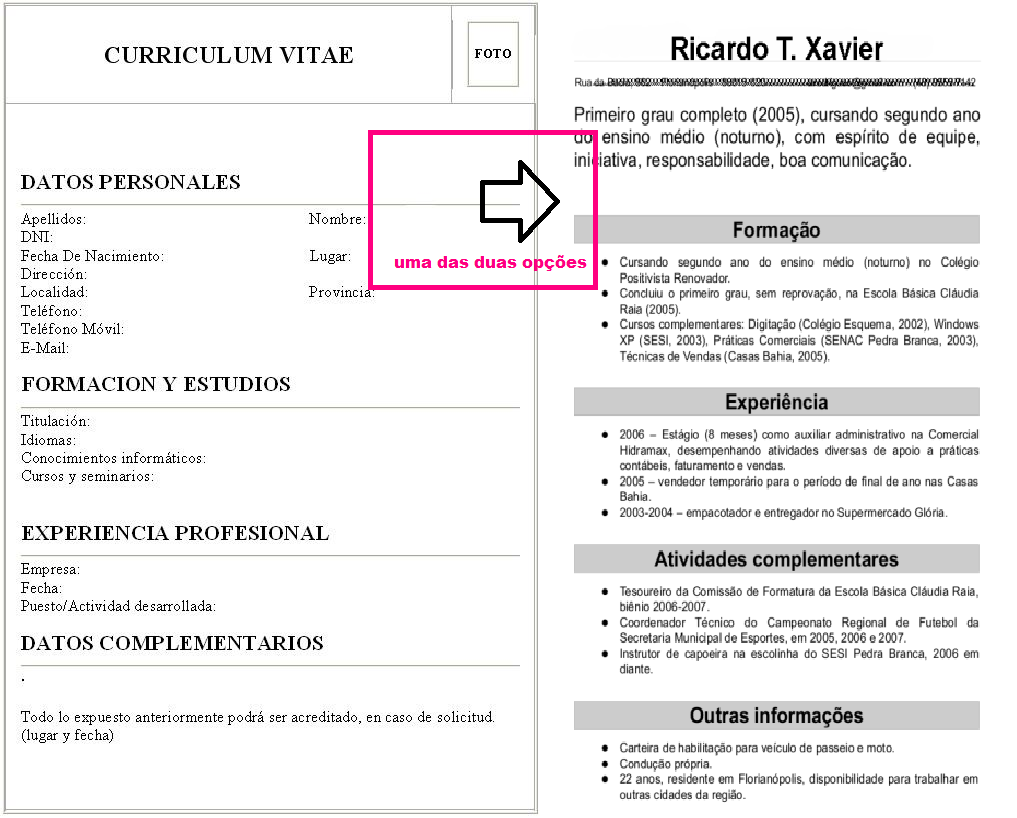 curriculum vitae simples preencher download