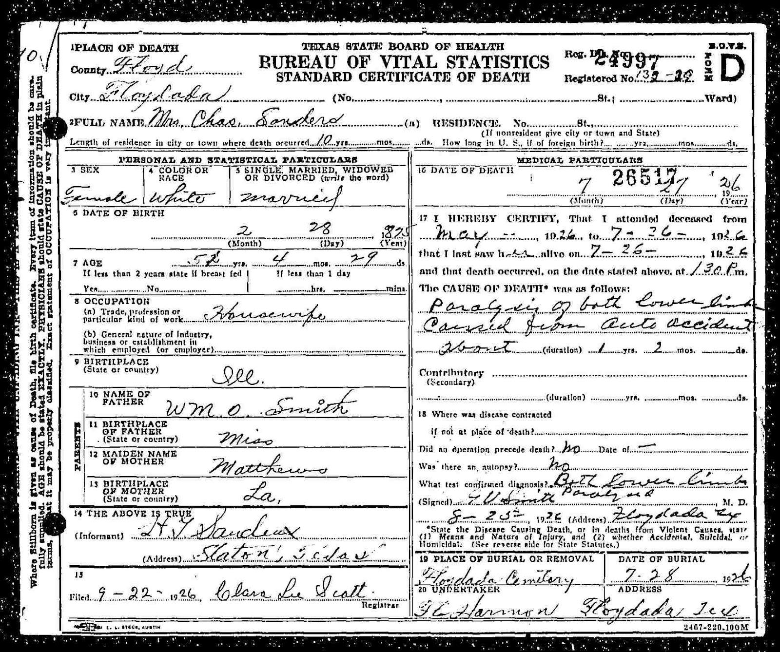Some lemon family history charles sanders annie madalene smith texas state board of health bureau of vital statistics standard certificate of death aiddatafo Choice Image