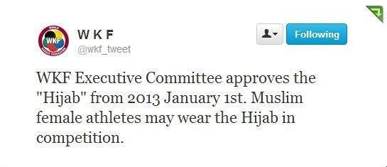 صورة من القرار على الحساب الرسمى للإتحاد الدولى للكاراتيه على موقع تويتر