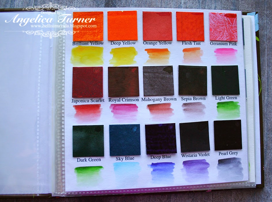Watercolor Color Names Grid With The Color Names