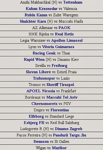 schedule Champions League October 2 2013