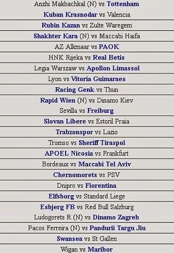 schedule Champions League October 2 2013