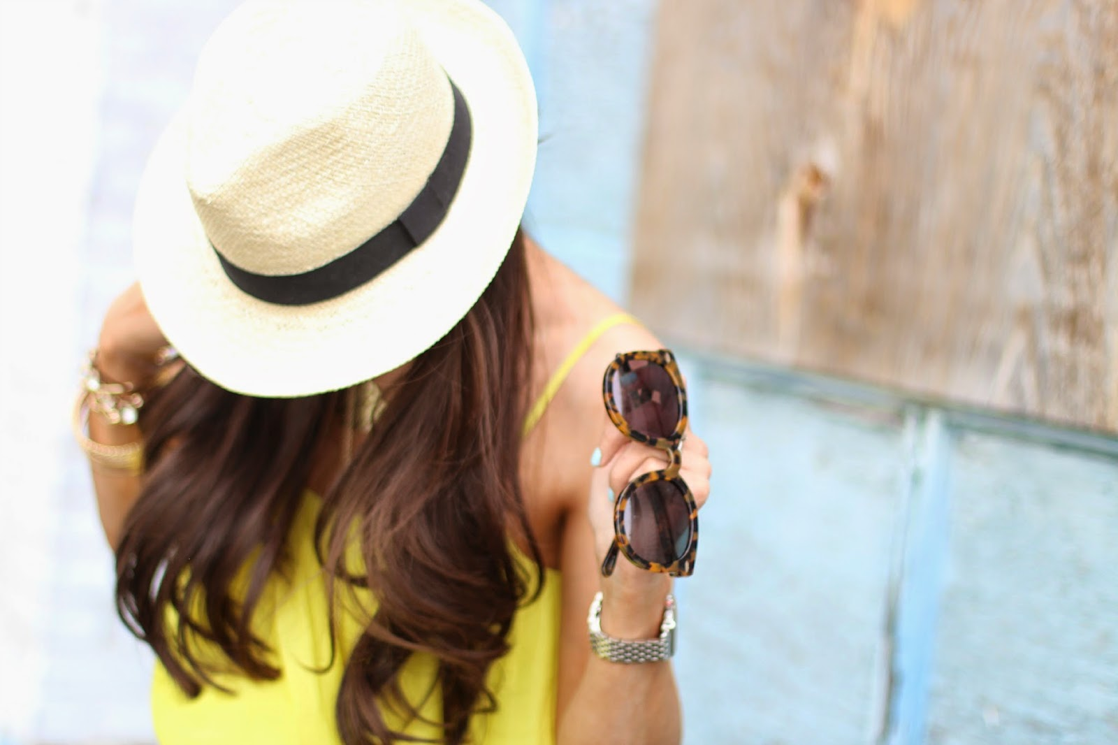 www.TheSweetestThingBlog.com, Emily Gemma, How To Wear A Fedora, Ripped Skinny Jeans, Valentino Inspired Sandals, Pinterest Summer Outfit 2014, Pinterest SUmmer Fashion, Michael Kors Runway Watch, Fashion Blog, Style Blog, Pinterest Outfits for Summer, Karen Walker Super Duper Strength Sunglasses, Gold Arm Party, Gold Bracelets, Nordstrom Studded Sandals, Gap Ripped Skinny Jeans, Forever 21 Neon Yellow Tank, Gorjana Rings, Mindy Maes Market Bracelet
