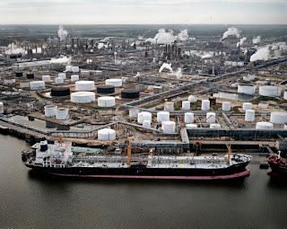 Oil tanker being loaded at Texas refinery