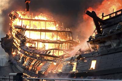 sailing ship fire smoke - photo #24