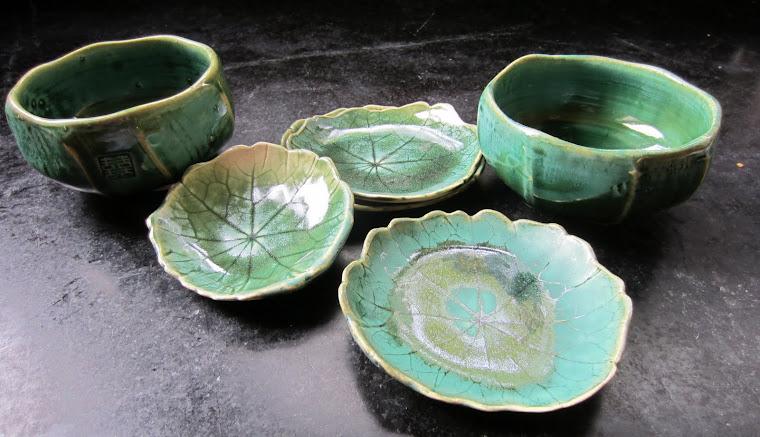 Lotus Bowls and Nasturtium Leaves