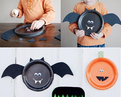 Murciélagos para Halloween con platos reciclados