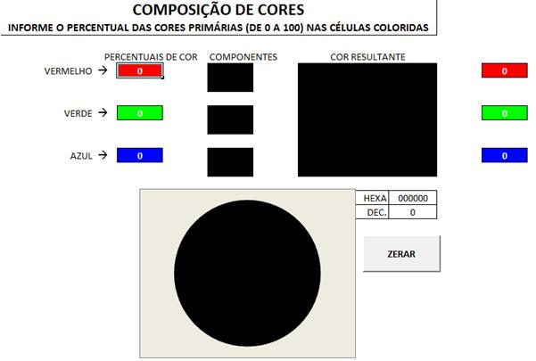 4 planilhas eletrônicas: jogo 2.048, mistura de cores, gráfico e outros