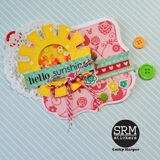 SRM Stickers Blog - Summer Cards by Cathy Harper - #cards #summer #twine #stickers #stitches #sentiments
