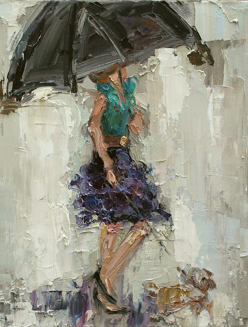 KATHRYN MORRIS TROTTER, UMBRELLA GIRL, DANCING IN THE RAIN, FASHION PAINTING, www.kathryntrotterart.com, fashion ladies with umbrellas,
