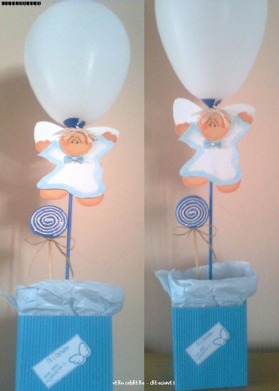 Centros de mesa para bautismos angelito car interior design - Centros de mesa con globos ...