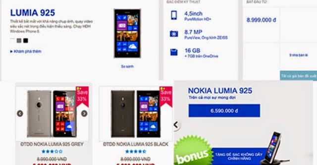 Lumia 925 giảm giá 2 triệu đồng