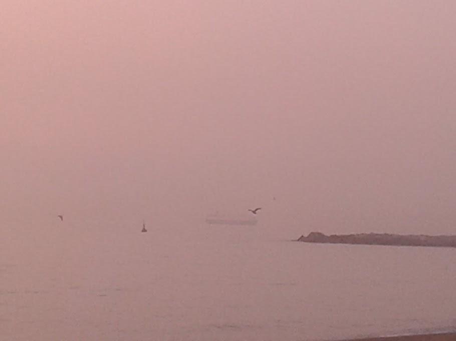 Un barco surge entre la bruma