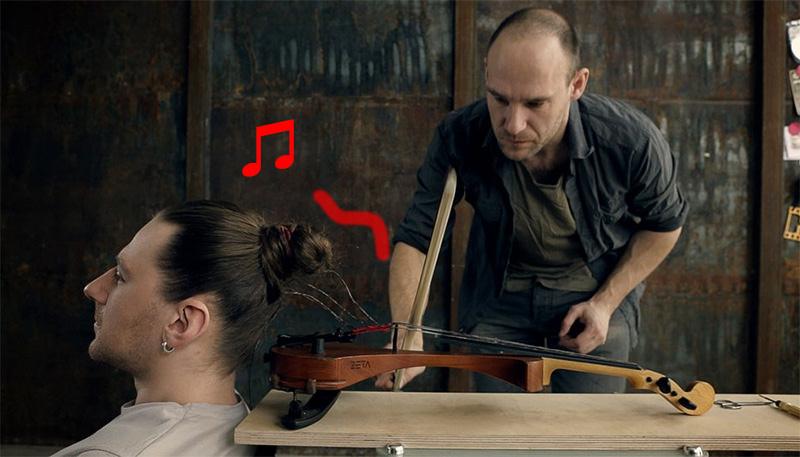 髪の毛が弦!?人間とバイオリンを繋げたらこうなった。