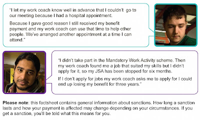 This photo contains 2 case studies. At the top is a photo of a young white man with a speech bubble in which he says 'I let my work coach know well in advance that I couldn't go to our meeting because I had a hospital appointment. Because I gave good reason I still received my benefit payment and my work coach can use that time to help other people. We've arranged another appointment at a time I can attend.' Then below him is the same stock photo of Zac. His speech bubble says 'I didn't take part in the Mandatory Work Activity scheme. Then my work coach found me a job that suited my skills but I didn't apply for it, so my JSA has been stopped for six months. If I don't apply for jobs my work coach asks me to apply for I could end up losing my benefit for three years.