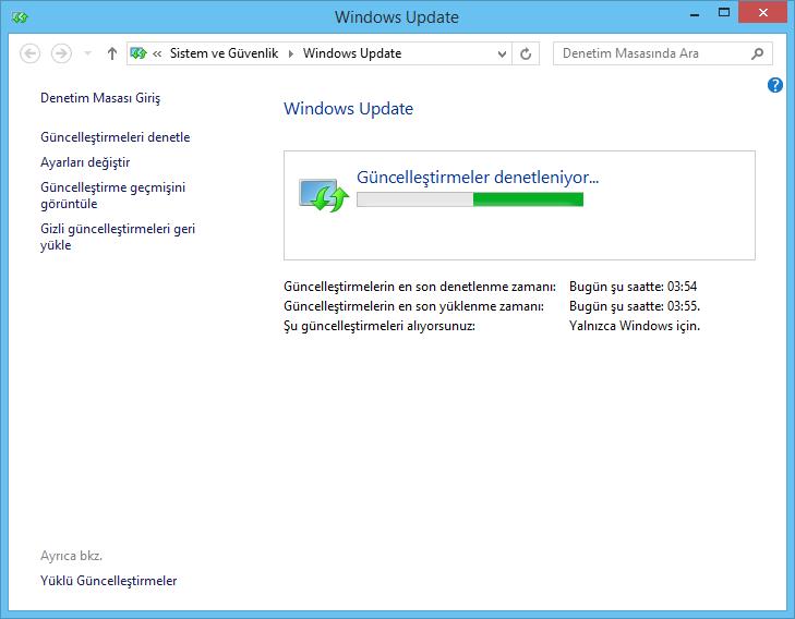 Windows 8.1 Güncellemeleri denetle