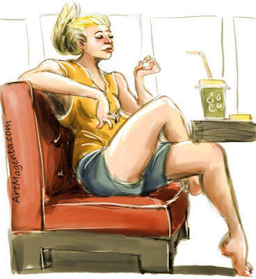 Testing the social limits of fashion is a caricature by artist and illustrator Artmagenta