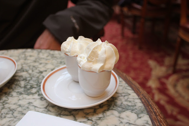 Whipped cream for hot chocolate L'Africain at Angelina, Paris