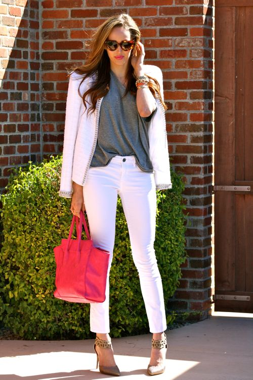 Rebecca Taylor Ankle Strap Heels- Prada Cat Eye Sunglasses- BCBG White Skinny Jeans- White Chain Jacket-Michael Stars Shirt-Golden-Divine-Blog-Arizona-Blogger