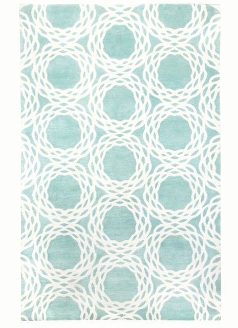 COCOCOZY Oxford wool rug sea foam green mint seafoam Indo Tibetan hand knot knotted graphic pattern design