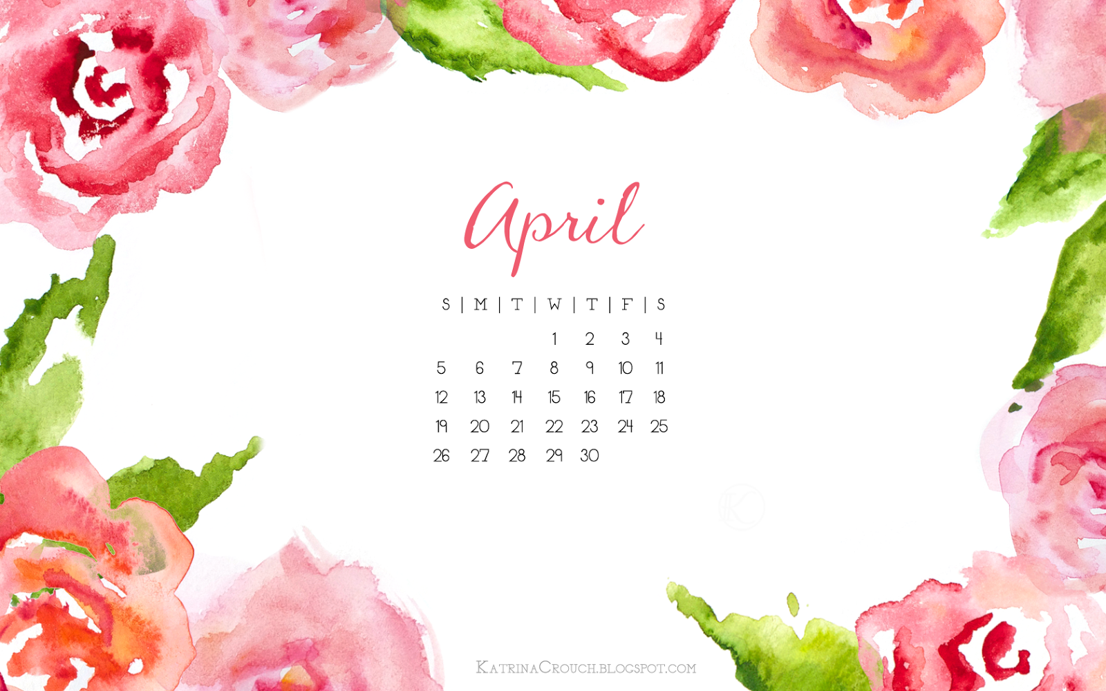 Desktop Calendar April 2016 katrina crouch — blushed design: april desktop calendar (2015)