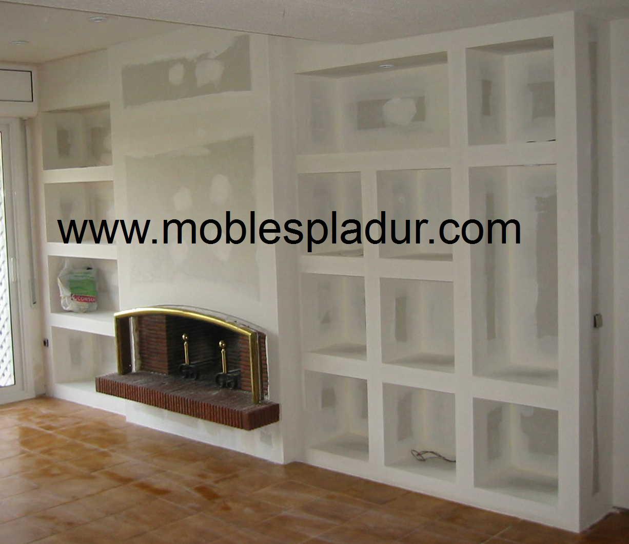 Pladur barcelona chimenea pladur - Muebles de salon con chimenea integrada ...