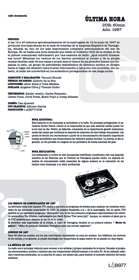 "Ficha técnica documental sonoro ""Última hora"", radio feature"