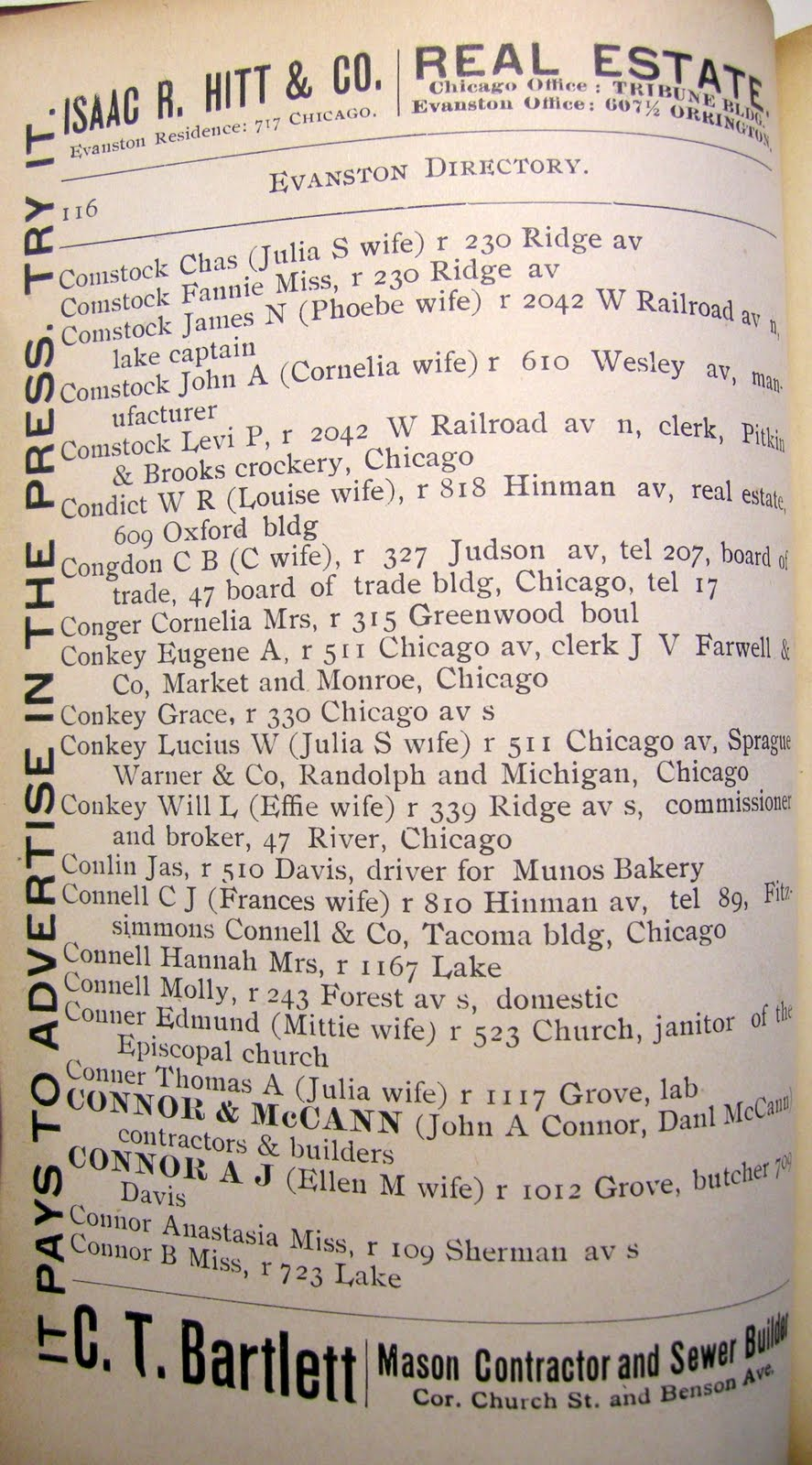 connor entries from the 1892 evanston city directory